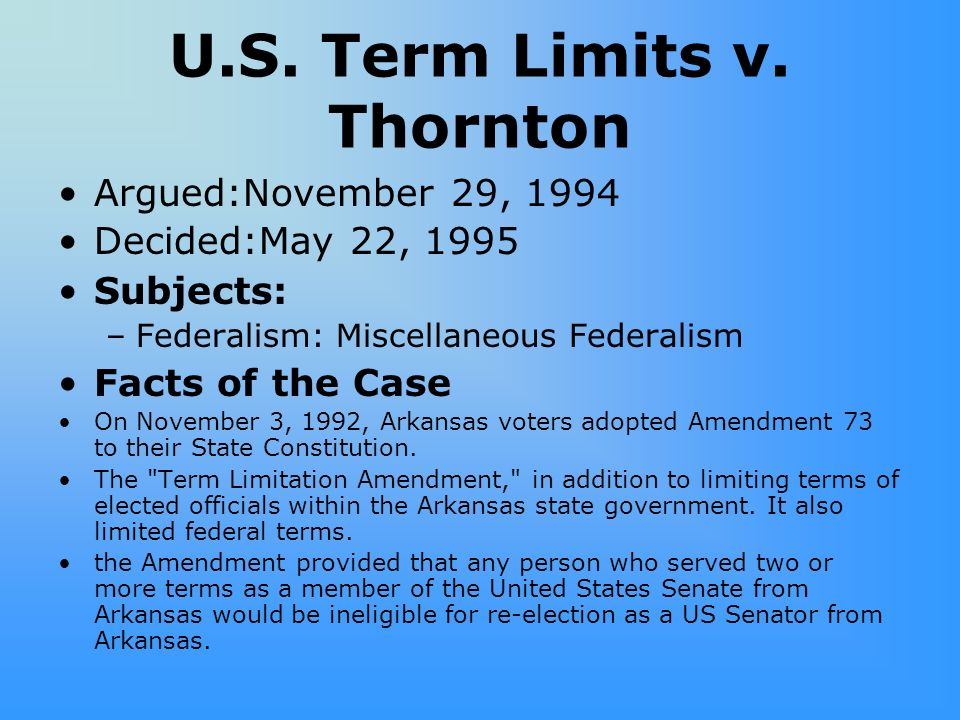 term limits congress essay Congressional terms have no limits controversy exists between those who think  the terms should be limited and those who believe that terms should remain.