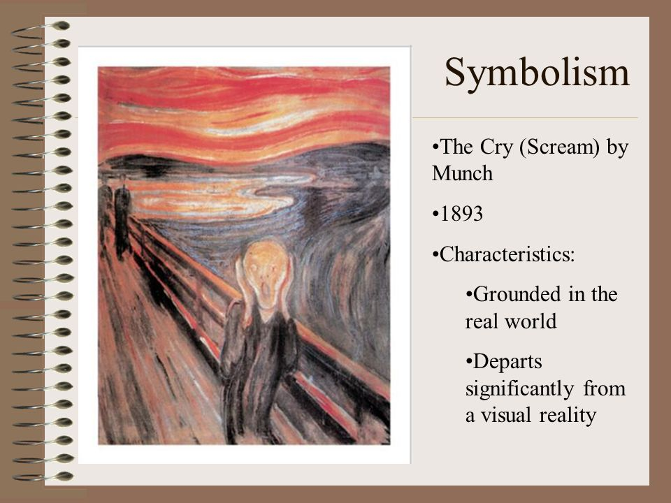 Symbolism The Cry (Scream) by Munch 1893 Characteristics: