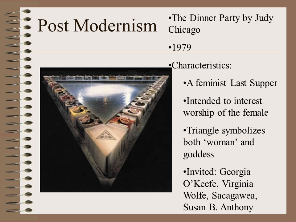 Post Modernism The Dinner Party by Judy Chicago 1979 Characteristics: