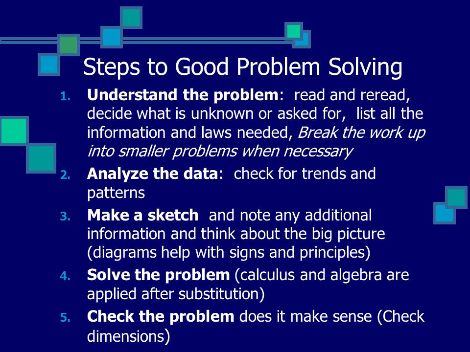 Steps to Good Problem Solving