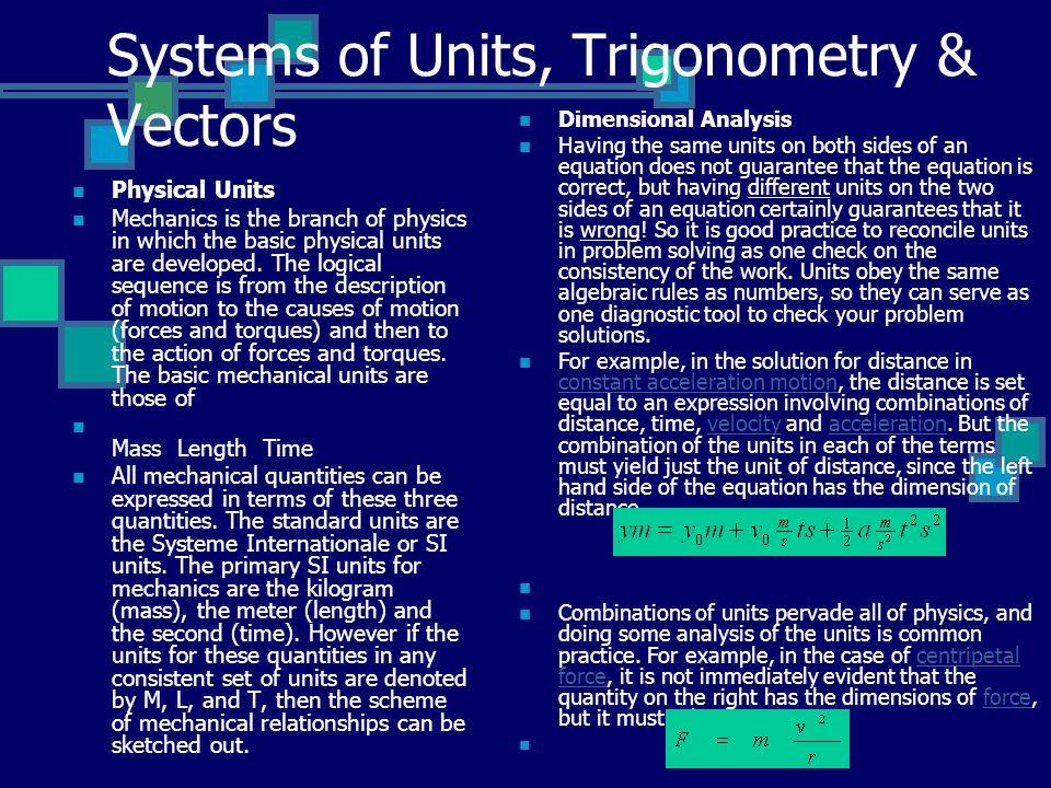 Systems of Units, Trigonometry & Vectors