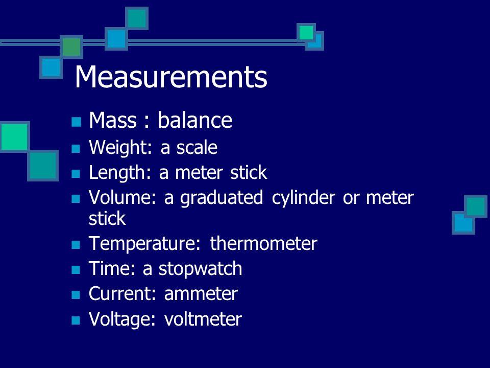 Measurements Mass : balance Weight: a scale Length: a meter stick