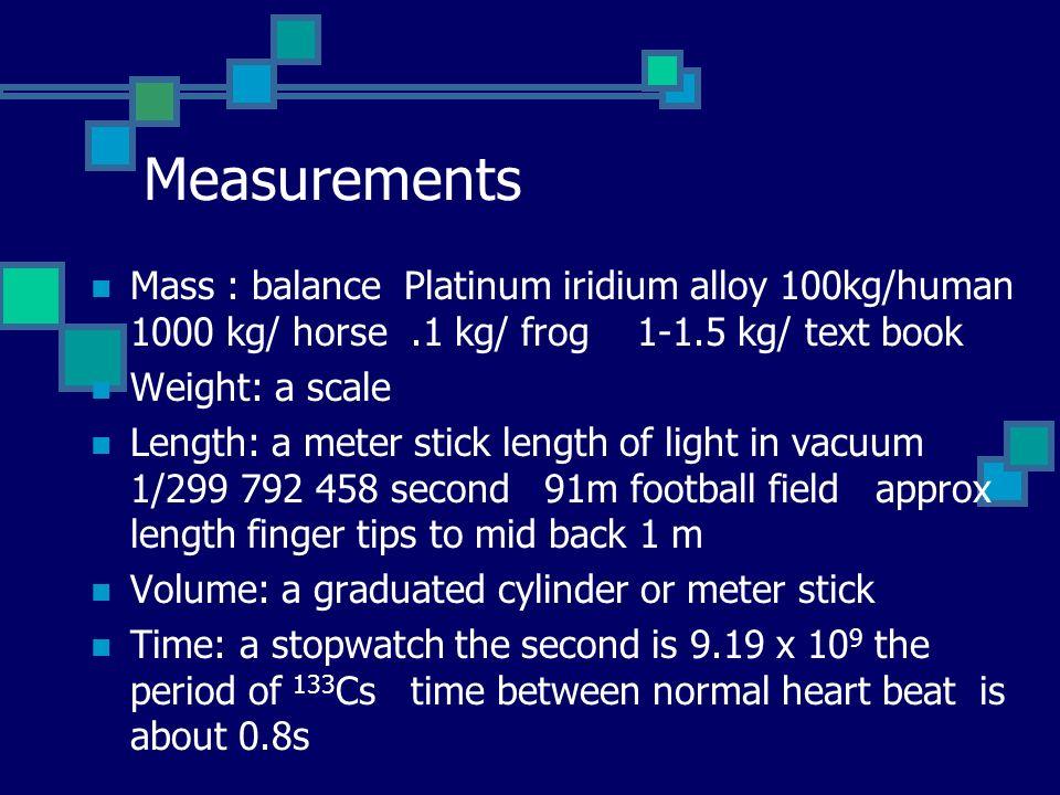 Measurements Mass : balance Platinum iridium alloy 100kg/human 1000 kg/ horse .1 kg/ frog 1-1.5 kg/ text book.