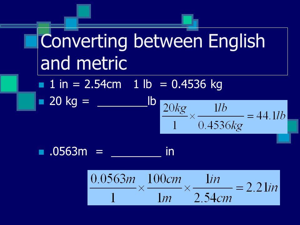 Converting between English and metric
