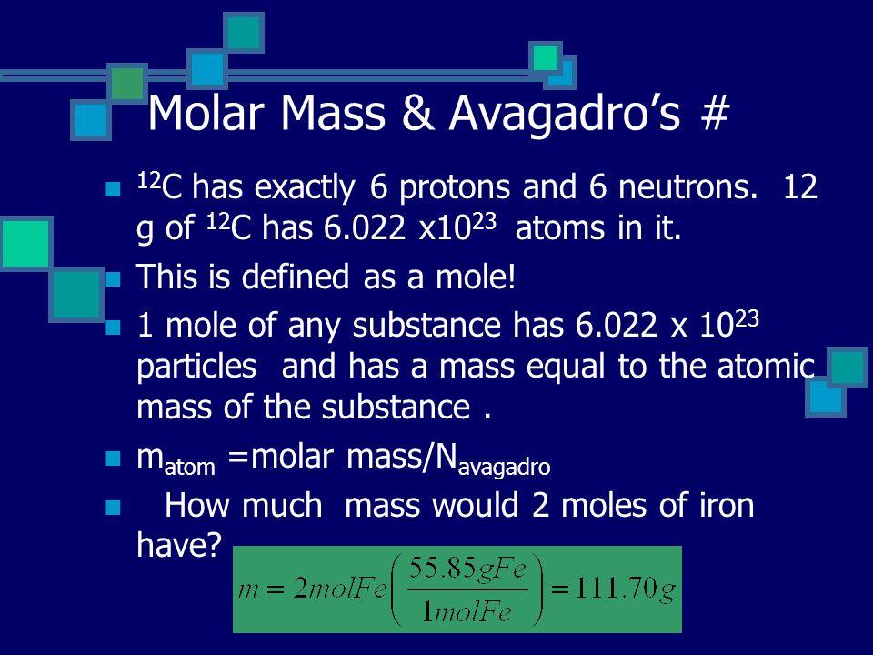 Molar Mass & Avagadro's #