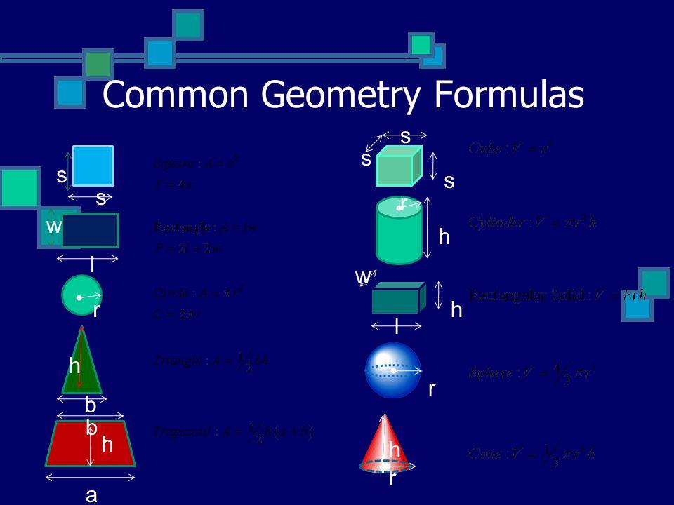 Common Geometry Formulas