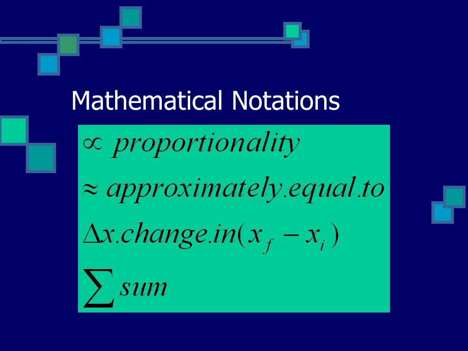 Mathematical Notations