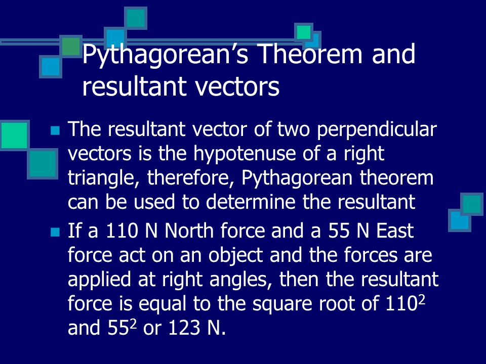 Pythagorean's Theorem and resultant vectors