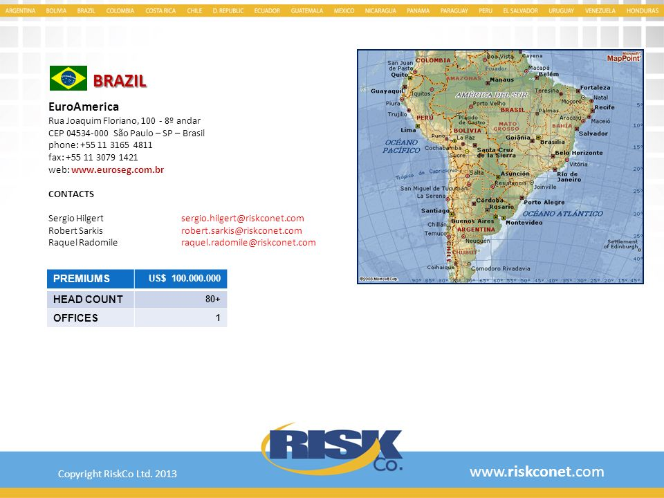 BRAZIL www.riskconet.com EuroAmerica Copyright RiskCo Ltd. 2013