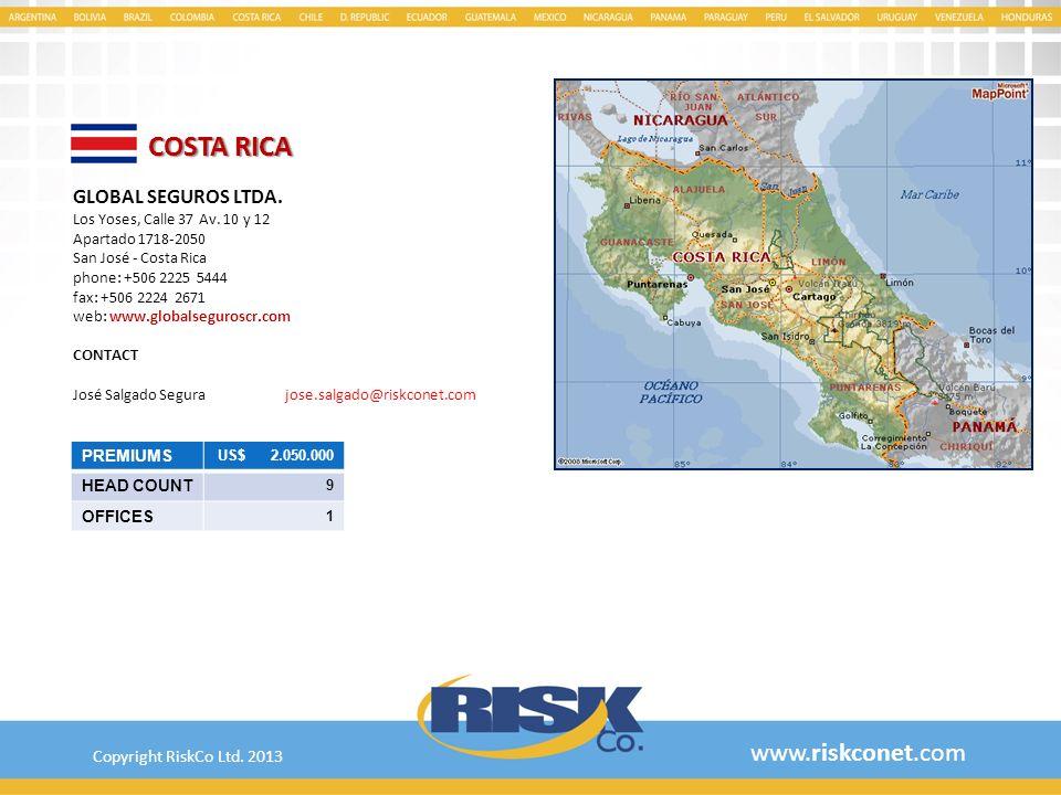 COSTA RICA www.riskconet.com GLOBAL SEGUROS LTDA.