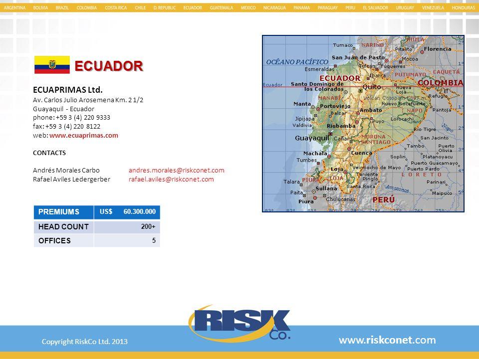 ECUADOR www.riskconet.com ECUAPRIMAS Ltd. Copyright RiskCo Ltd. 2013