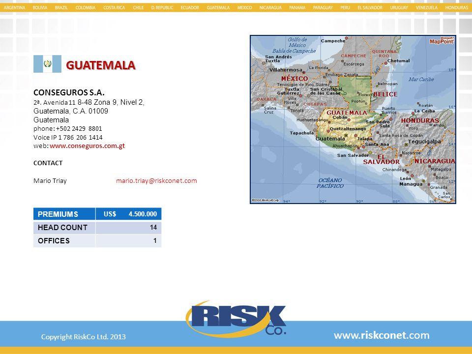 GUATEMALA www.riskconet.com CONSEGUROS S.A.