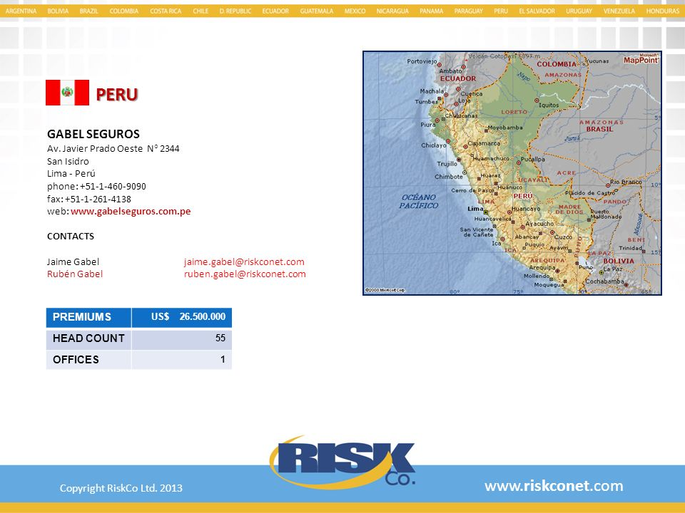 PERU www.riskconet.com GABEL SEGUROS Copyright RiskCo Ltd. 2013
