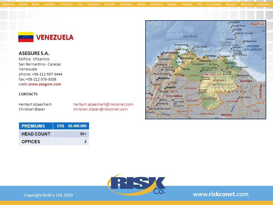 VENEZUELA www.riskconet.com ASEGURE S.A. Copyright RiskCo Ltd. 2013
