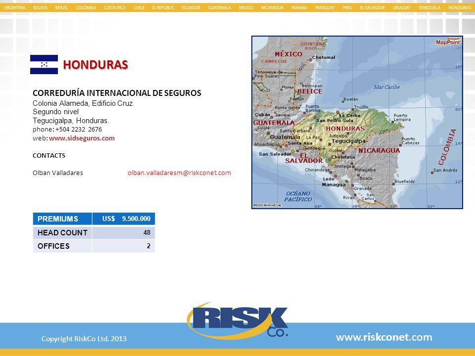 HONDURAS www.riskconet.com CORREDURÍA INTERNACIONAL DE SEGUROS