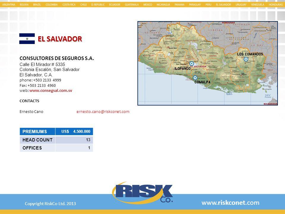 EL SALVADOR www.riskconet.com CONSULTORES DE SEGUROS S.A.