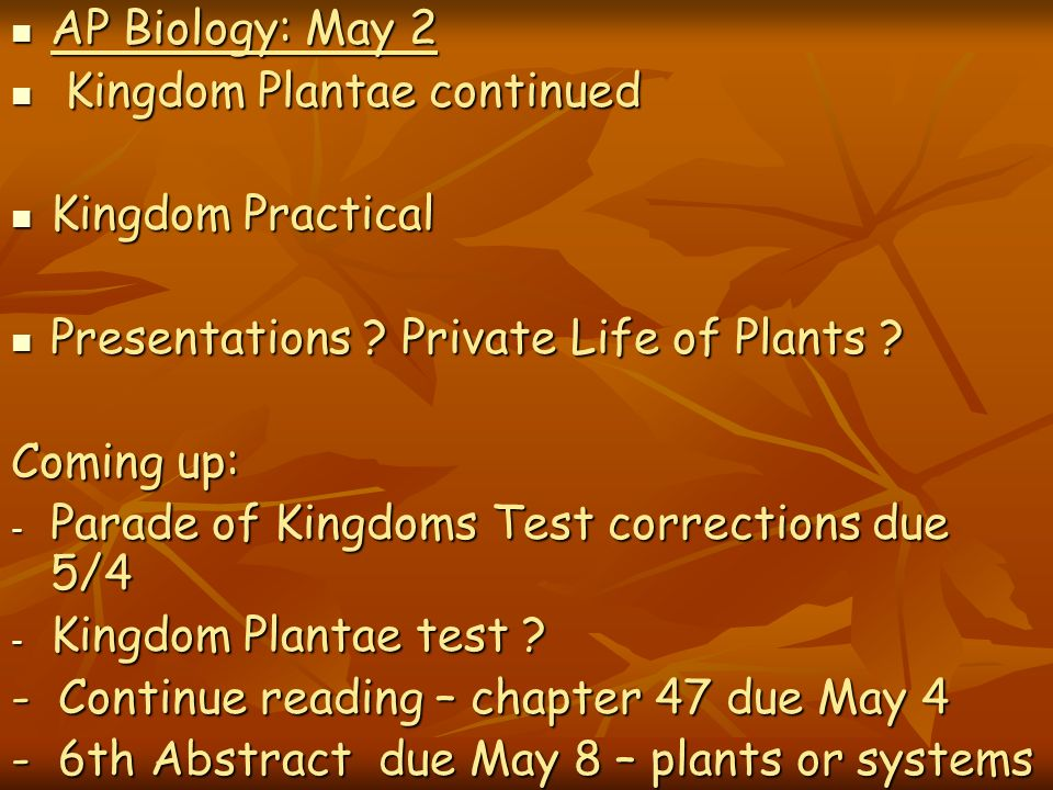 AP Biology: May 2 Kingdom Plantae continued. Kingdom Practical. Presentations Private Life of Plants