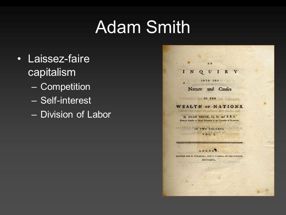 Adam Smith Laissez-faire capitalism Competition Self-interest