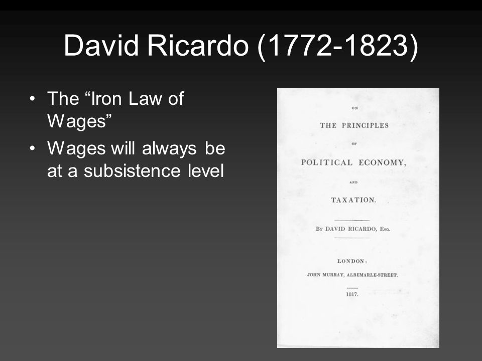David Ricardo (1772-1823) The Iron Law of Wages