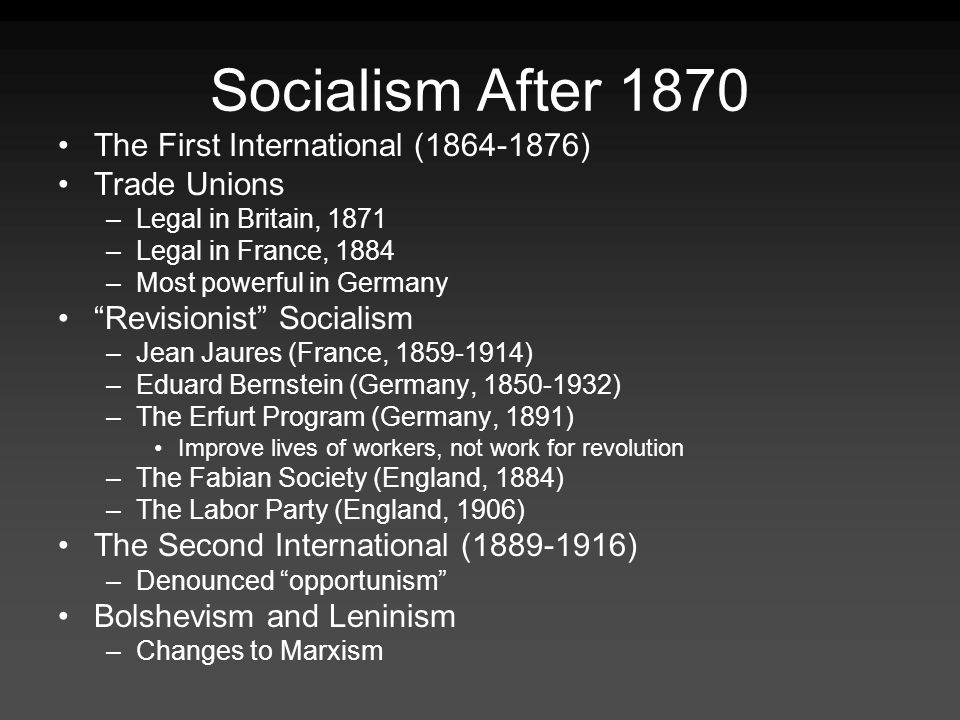 Socialism After 1870 The First International (1864-1876) Trade Unions
