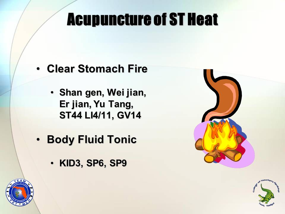 Acupuncture of ST Heat Clear Stomach Fire Body Fluid Tonic