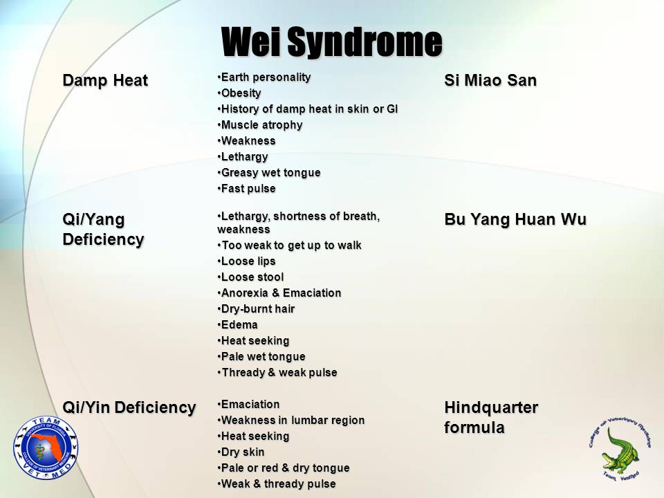 Wei Syndrome Damp Heat Si Miao San Qi/Yang Deficiency Bu Yang Huan Wu