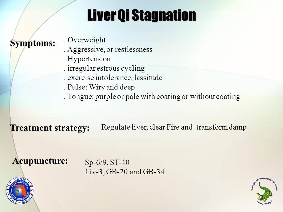Liver Qi Stagnation Symptoms: Treatment strategy: Acupuncture: