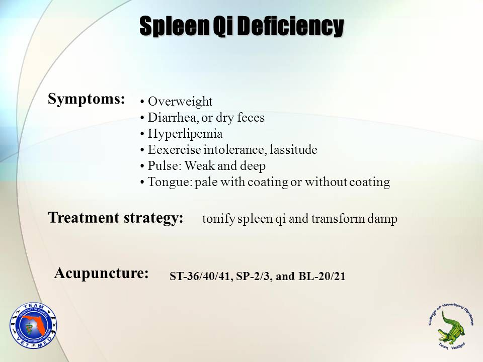 Spleen Qi Deficiency Symptoms: Treatment strategy: Acupuncture:
