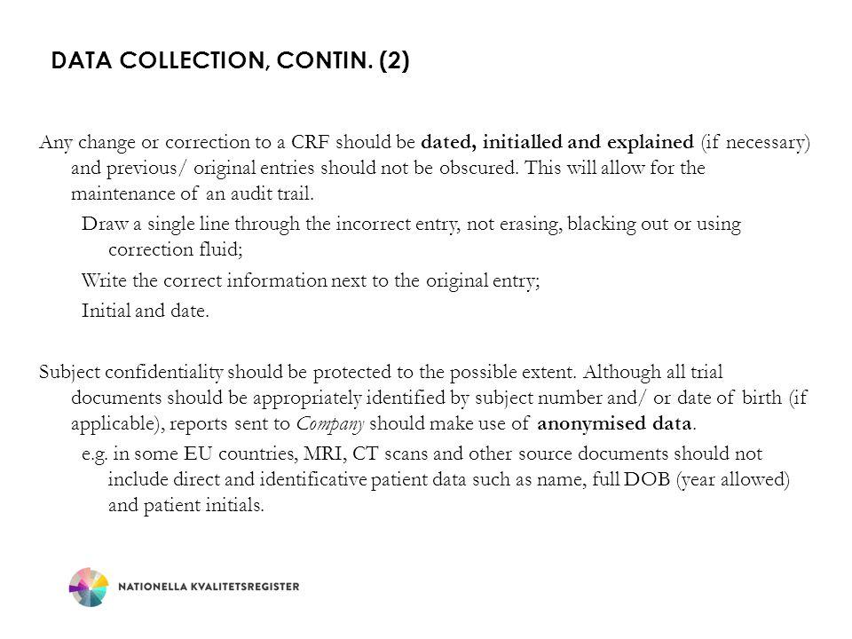 Data Collection, contin. (2)