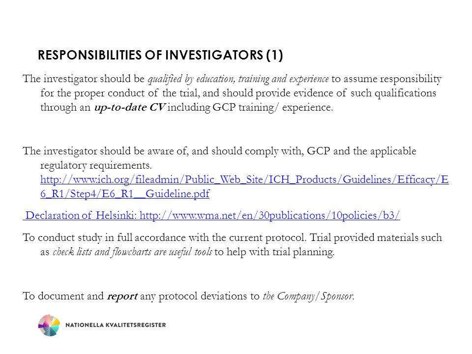 Responsibilities of Investigators (1)
