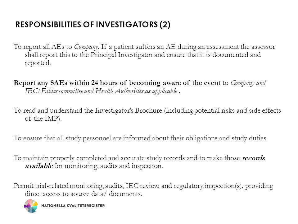 Responsibilities of Investigators (2)