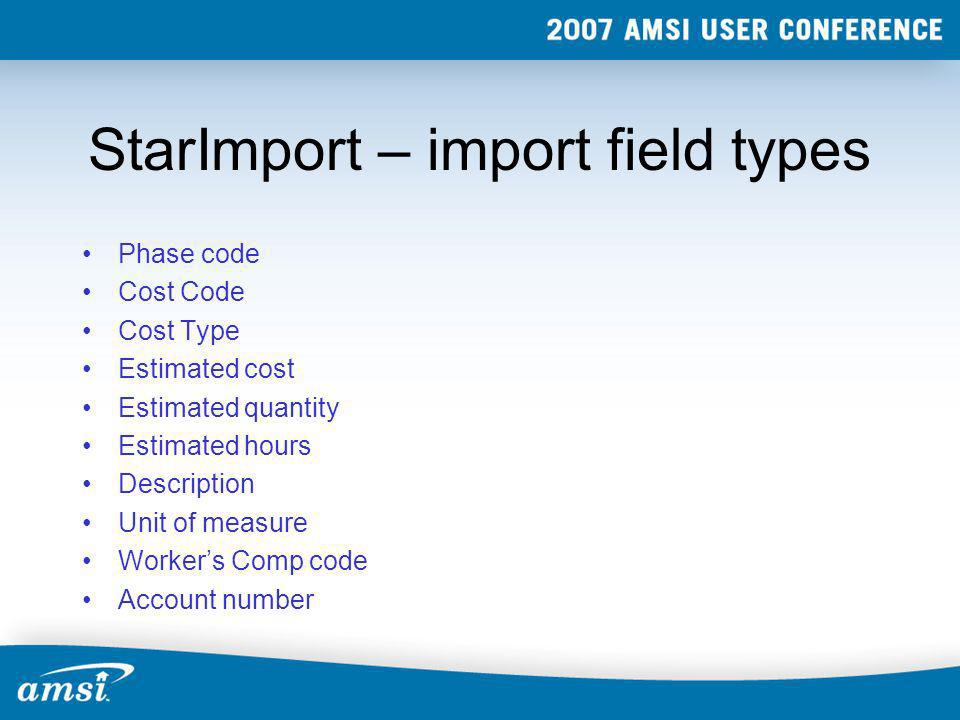 StarImport – import field types
