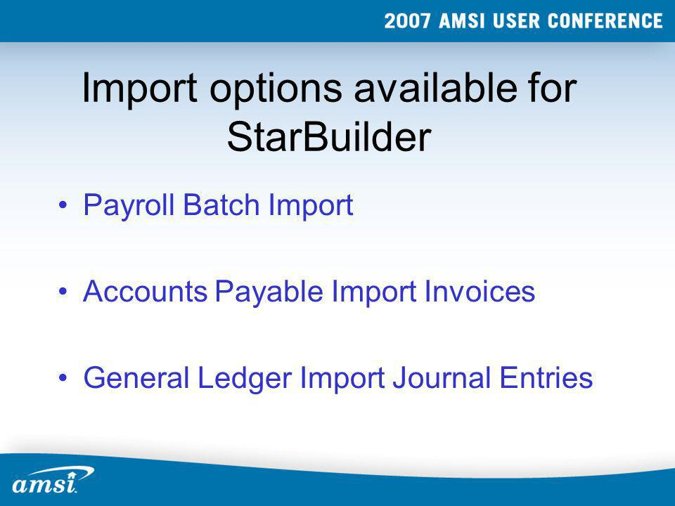 Import options available for StarBuilder