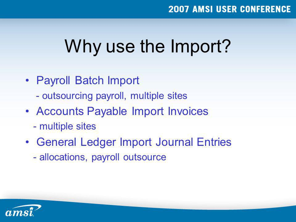 Why use the Import Payroll Batch Import