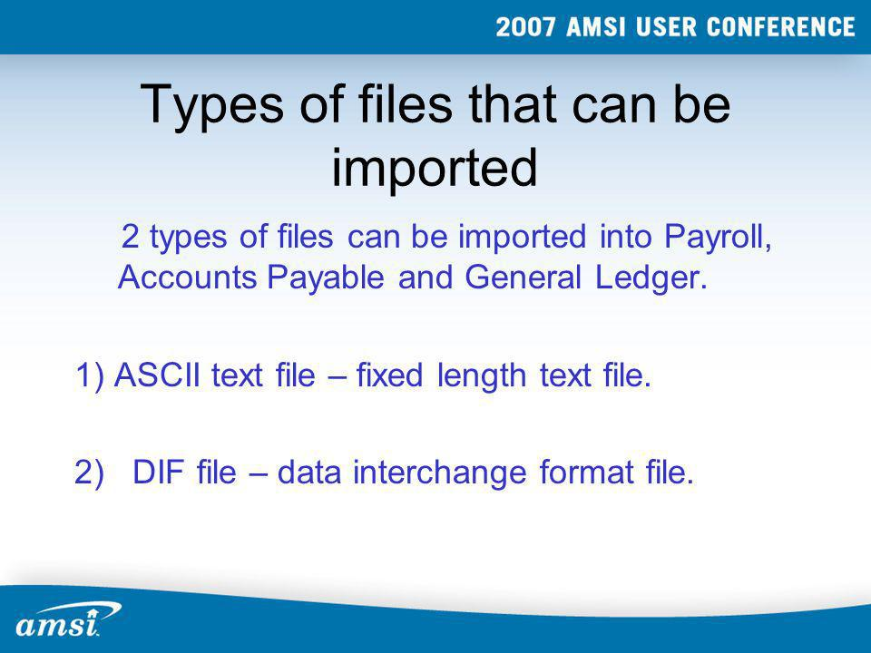 Types of files that can be imported
