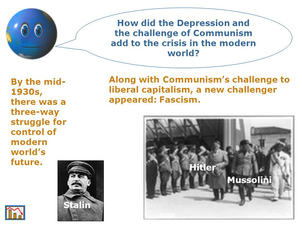 How did the Depression and the challenge of Communism add to the crisis in the modern world