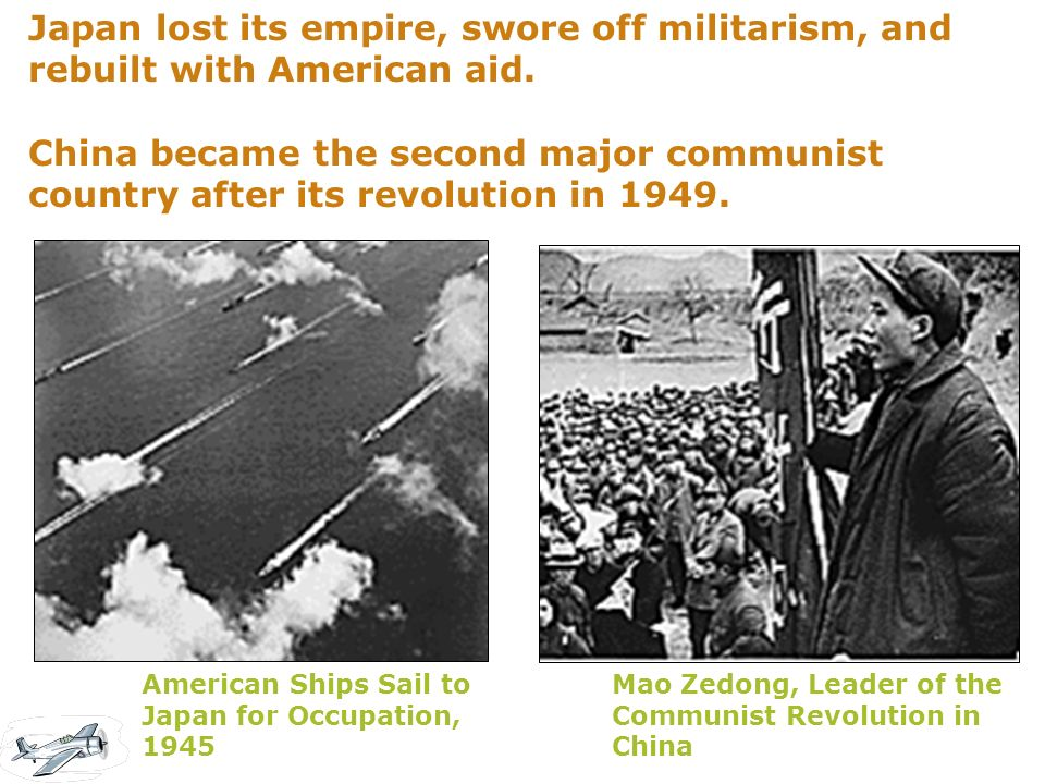 Japan lost its empire, swore off militarism, and rebuilt with American aid.