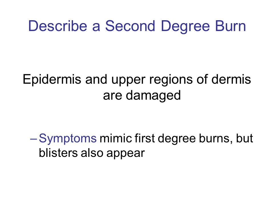 Describe a Second Degree Burn
