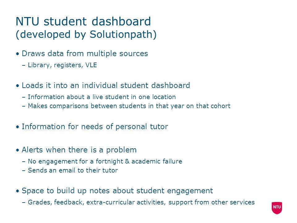NTU student dashboard (developed by Solutionpath)