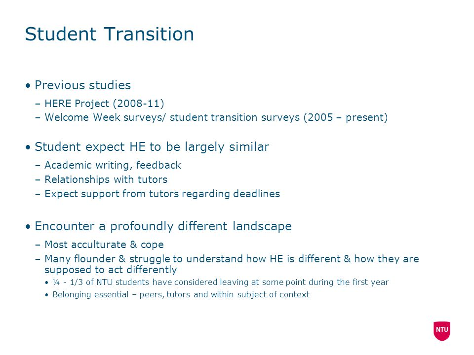 Student Transition Previous studies