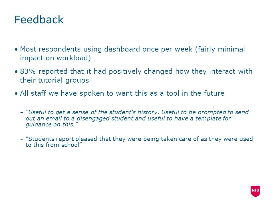 Feedback Most respondents using dashboard once per week (fairly minimal impact on workload)