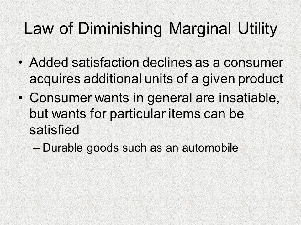 Law of Diminishing Marginal Utility