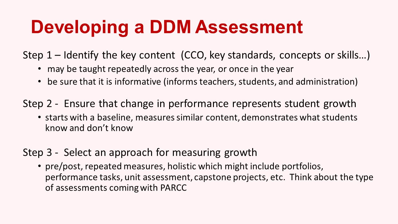 Developing a DDM Assessment