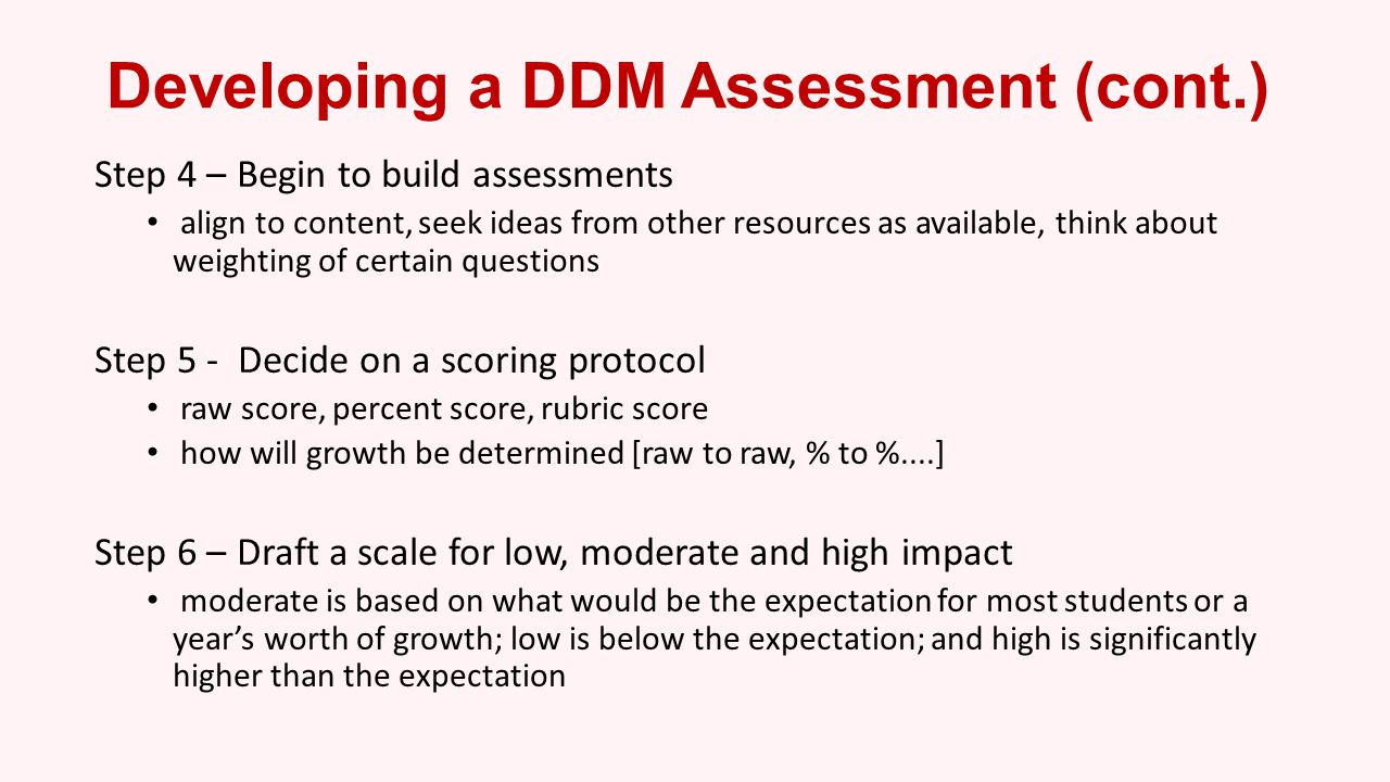 Developing a DDM Assessment (cont.)