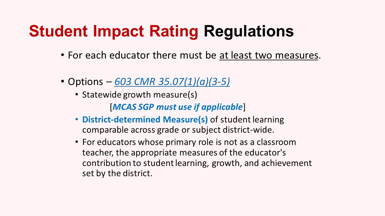 Student Impact Rating Regulations