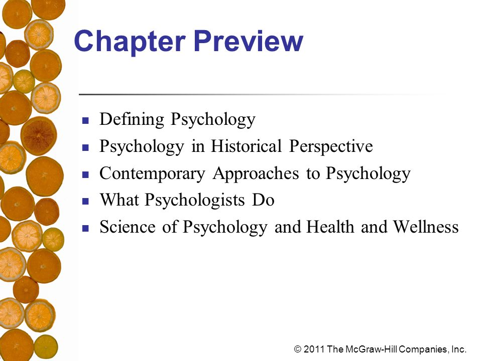 Chapter Preview Defining Psychology