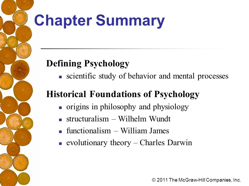 Chapter Summary Defining Psychology