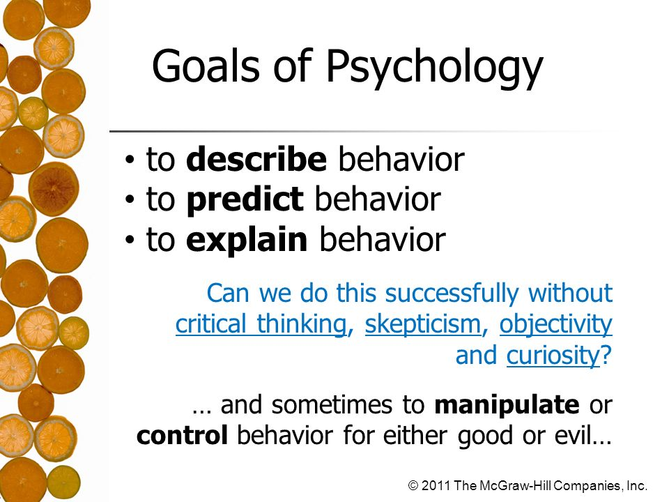 Goals of Psychology to describe behavior to predict behavior