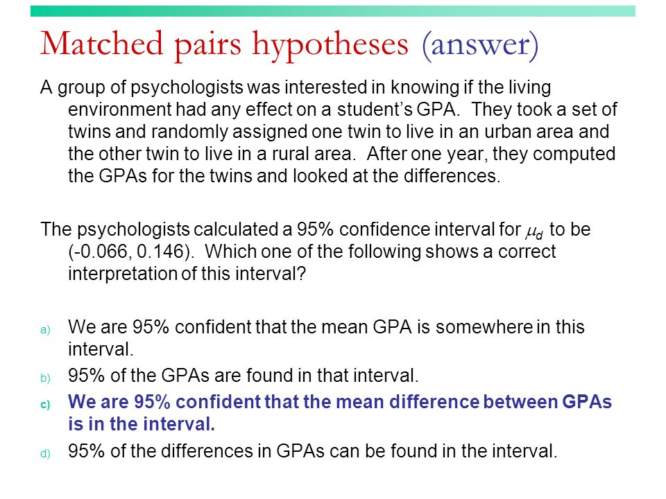 Matched pairs hypotheses (answer)