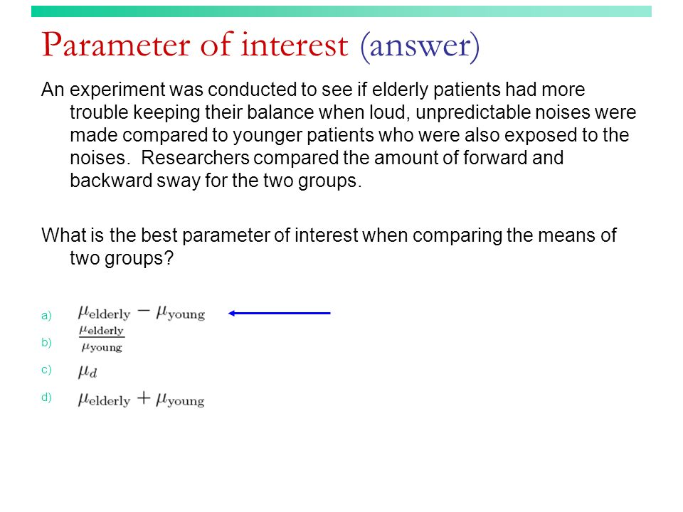 Parameter of interest (answer)